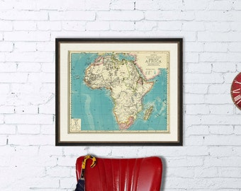Africa map - Old map of Africa giclee print -  Archival reproduction of historic maps