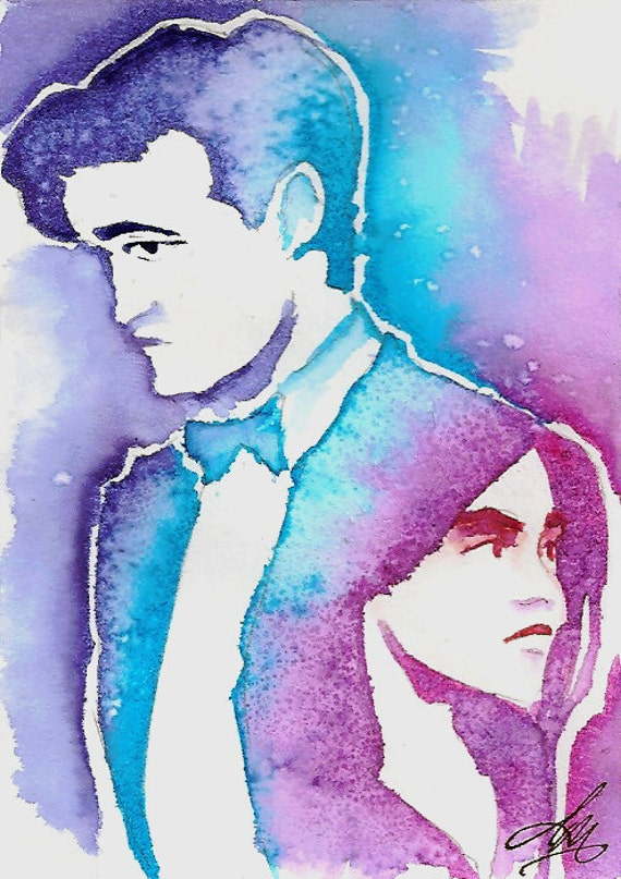 Companions, Dr Who original Fan Art Watercolor and salt on Bristol ACEO Artist Trading Card