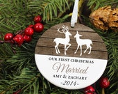 Our First Christmas Ornament - Deer - Personalized Porcelain Newlywed Holiday Ornament  - Just Married - orn460 - Rustic Wood