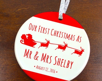 Our First Christmas as Mr and Mrs Ornament - Santa Sleigh and Reindeer- Personalized Holiday Ornament  - Just Married - orn394 - Peachwik
