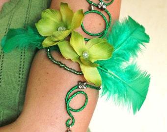 Green upper arm cuff arm wrap Tinkerbell costume absinthe fairy costume
