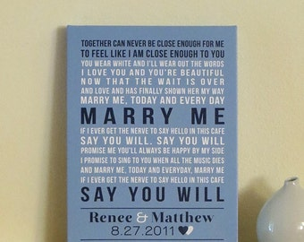Wedding Anniversary Gift for Husband Gift for Wife CANVAS Art Wedding Canvas Song Lyrics First Dance Wedding Vows