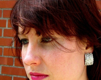 Vintage 70s 80s GILDA Rhinestone Encrusted Earrings Clip Ons: Disco, Dynasty, and Beyond