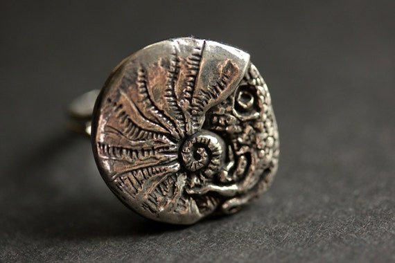 Squid Ring. Pewter Button Ring. Beach Button Ring. Adjustable Ring ...