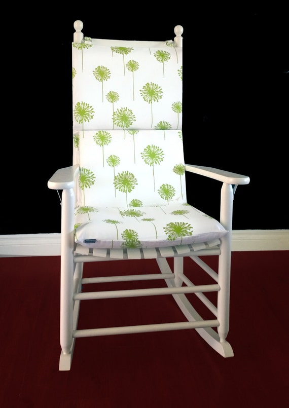 Rocking Chair Cushion Cover Dandelion Chartreuse Green Ready To Ship