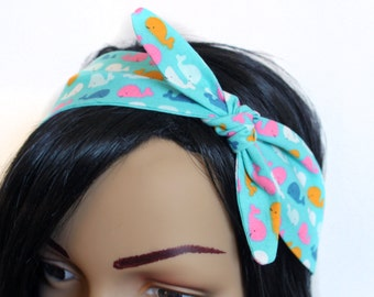 Colorful Whale Print Dolly Bow Retro Inspired Headband