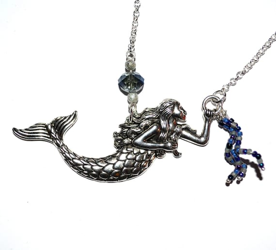 Mermaid Necklace, Tattoo Style, Big Mermaid Charm, Sailor Style, Rockabilly Jewelry, Nautical Jewelry, Mermaid Pendant, Blue Beaded Mermaid