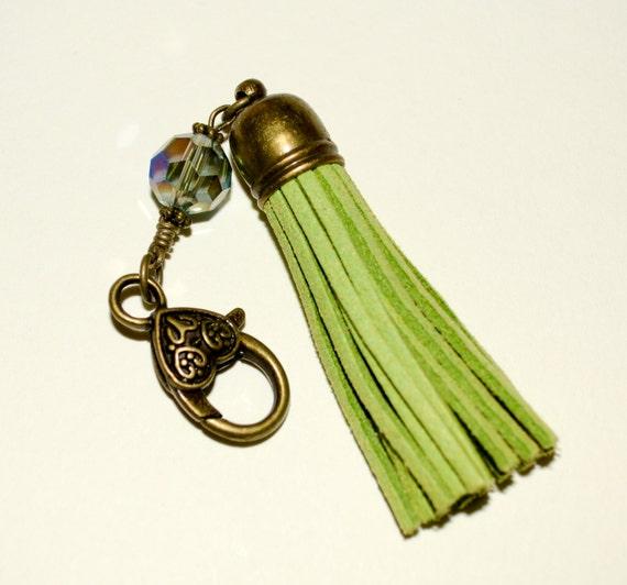 Purse Charm, Lime Green Suede, Bag Charm, Boho Tassel Clip, Bag Clip, Keychain Clip, Tassel Keyring, Boho Tassel, Zipper Charm, Purse Clip