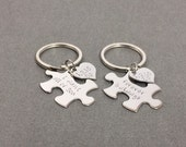 Gift for her, Puzzle Heart Keychains, Couples Keychains, Personalized Keychains, Boyfriend Gift, Date Keychains, Couples Set, Custom Gift