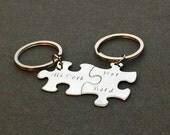 His Dork Her Nerd Keychains, Couples Keychain, Boyfriend Gift, Girlfriend Gift, Anniversary Gift Valentines Gift, Puzzle Keychains,Gift Idea