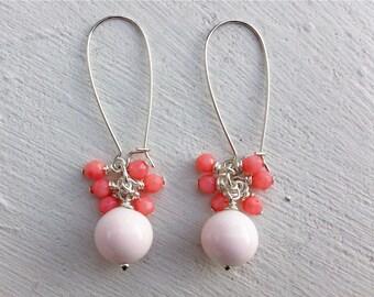 Angelskin Coral Earrings/Coral Earrings/Coral Cluster Earrings/Bridesmaid Earrings/Beaded Earrings/Cluster Earrings/Gifts For Her