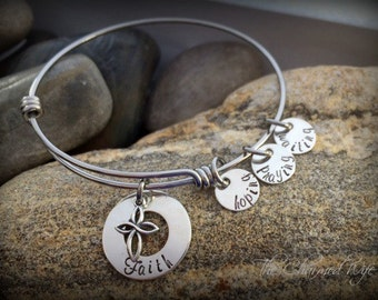 Infertility Bangle Bracelet - Infertility Miscarriage Gift Idea -  Hoping Praying Waiting - Trying to get Pregnant Gift - THe CHarmed Wife