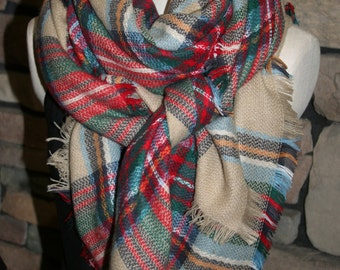 Plaid Tartan Blanket Scarf  Multicolor Plaid Scarf Scarves Zara Style Plaid Bloggers Favorite-Sale-Monogram Avail-Womans Accessories