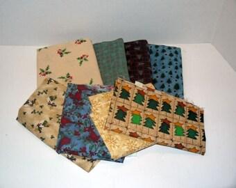 Vintage quilt fabric / novelty fat quarter lot / sewing quilting / destash scrap / doll crafts /  90s supplies / Christmas novelty