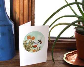 A Peek Inside the Quilted Forest // Greeting Card - Forest Illustration