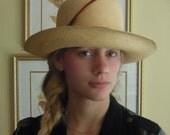 Vintage Tightly Woven Straw Hat / Garden Hat / Flip Brim Hat / Vacation Hat