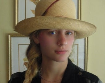 Vintage Tightly Woven Straw Hat / Garden Hat / Flip Brim Hat / Vacation Hat