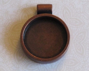 Round Antiqued Copper Mixed Media Bezel for Resin or Crystal Clay