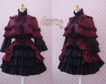 Black Maroon Gothic Two Pieces Lolita Dress With Capelette