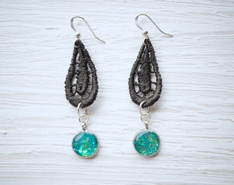 Green Glitter and Black Lace Earrings