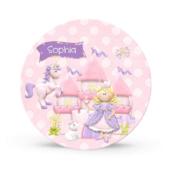 Kids Personalized Pink Plate - Princess Unicorn Party Melamine Plate for Girls - Plastic 10 inch Plate  - Plastic Plate for Kids