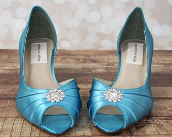 Blue Wedding Shoes --Blue Peep Toe Kitten Heel Wedding Shoes with Simple Rhinestone Adornment
