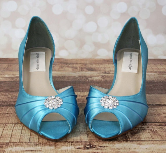 Turquoise Wedding Heels: Blue Wedding Shoes Blue Peep Toe Kitten Heel Wedding Shoes