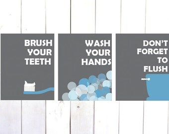 Brush Your Teeth, Kids Bathroom Art, Wash Your Hands Print, Kids Bathroom Set, Kids Bathroom Decor,Brush Wash Flush,Bathroom Artwork,Prints