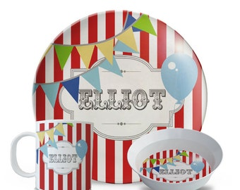 Personalized Plate, Carnival Plate, 3 Piece Set, Plate, Bowl, Mug Set, Circus Birthday, Carnival Party, Children's Melamine Plate