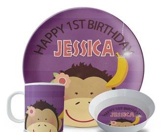 Personalized Plate Set, Monkey Birthday Plate Bowl, Mug Set, Girls Personalized Melamine Jungle Birthday, Zoo Party Plate Set