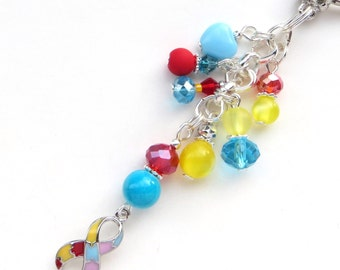 AUTISM AWARENESS- Beaded Key-Chain- Czech Beads, Lucite Beads, Sparkling Crystals, and Silver Beads