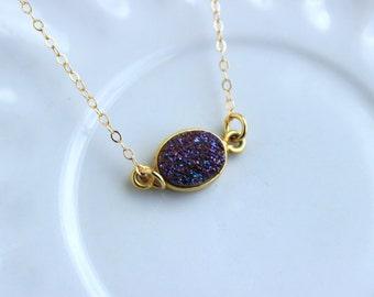 Gold Purple Druzy Necklace Natural Druzy Jewelry - Purple Drusy Necklace Jewelry Druzy Christmas Gift Under 20 Necklace Statement Jewelry
