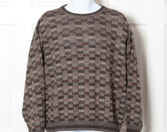 80s 90s Vintage Mens Sweater - NATURAL ISSUE - Large - knit brown tan earth tones