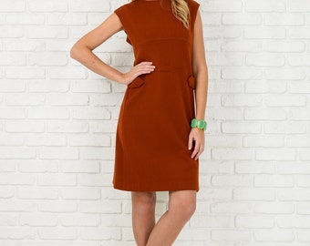 Vintage 60s 70s Brown Mod Dress Shift A Lined Knee Hippie Small Medium S M 3886