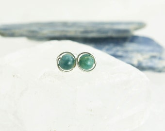 Small Kyanite Stud Earrings - Sterling Silver Blue Gree Gemstone Rounds - Intuition, Guidance, Grounding, Healing