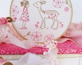 Bambi Girl, Deer baby embroidery, Deer girl, Christmas gift ideas, Girl nursery wall art, Baby hand embroidery, Diy embroidery kit, Broderie