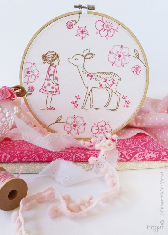 Bambi girl deer baby embroidery christmas gift