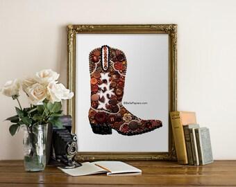 Cowboy Boot Wall Art Button Art Cowboy Boot Decoration Cowgirl Boot Southwestern Art Button Art Swarovski Art Button Boot 8x10