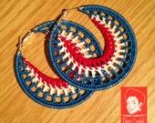 Independence Day Crochet earrings - crochet hoops - handmade crochet earrings