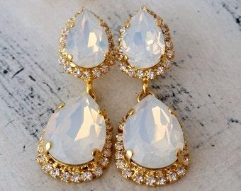 White opal Chandelier earrings, Dangle earrings, Drop earrings, Bridal earrings, Bridesmaids gift, Estate style, Gold/Silver