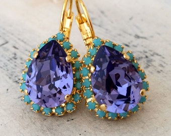 Purple tanzanite and turquoise crystal drop earrings, Dangle earrings, Bridesmaid gifts, Bridal jewelry, Swarovski earrings, Gold plate