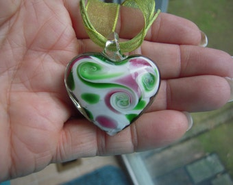 Festive Heart Dichroic Glass Necklace....ON SALE