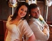 Bridal shrug bolero with 4 wearing options- shawl, shrug, twist and scarf (VN300)