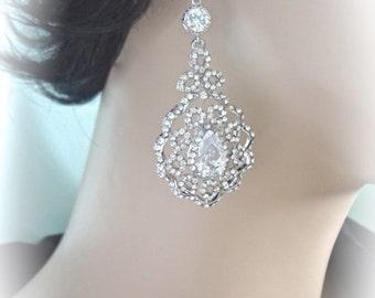 Rhinestone earrings - Long chandelier earrings - ELEGANT - Brides earrings - Wedding earrings - Crystal earrings - Victorian ~ NINA