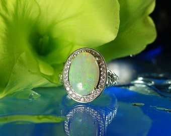 Large Opal Ring, Opal Sterling Ring, Opal Ring, Large Opal, Natural Opal Jewelry, White Opal Ring, Australian Opal