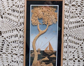 Beautiful Framed 3 D Cork Picture of Sailboat Tree and Sun MINT Vintage