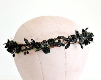 Black Flower Hair Crown, Black on Black Crown, Woodland, fall, Hair Wreath, autumn, halloween, Halloween headband, Hair Accessories