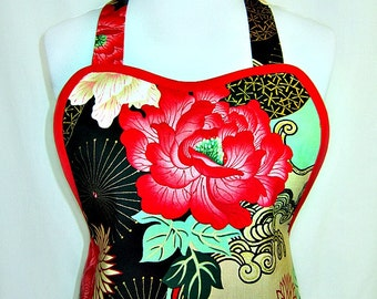 Apron Oriental LADY YANG in Red & Black with Gold Accents, Elegant ASIAN Glamour Hostess Party Gift