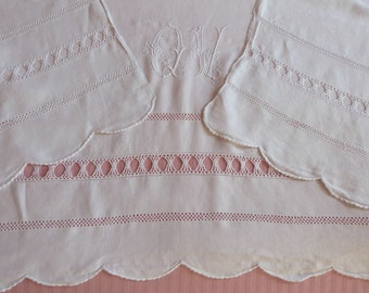 LARGE Antique French pure linen dowry sheet hand monogrammed w embroidered monogram OV w floral embroidery, heirloom bed linens w drawnwork