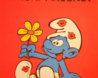 Want to Smurf Around? - Vintage Smurf Poster from 1980s